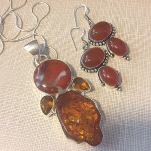 Jewelry - High End Amber Red Jasper Carnelian Set